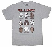 Star Wars ALL I KNOW I LEARNED FROM STAR WARS size Med.light gray tshirt