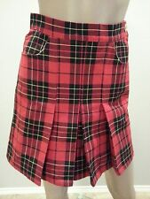 VTG 90's Moschino Jeans Red Black Plaid Schoolgirl Pleated Leather Peace Skirt