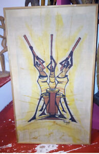 Vintage African Batik Painting on Fabric Signed Mbazzi