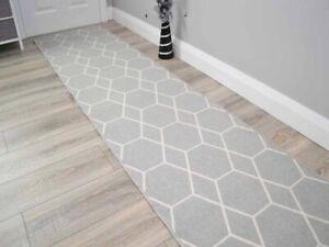 Silver Hexagon Long Hall Hallway Corridor Wide Narrow Floor Carpets Rugs Cheap