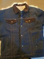 Vtg Saddle King Western Sherpa Lined Denim Jean Jacket Men's Sz 44 L COAT USA
