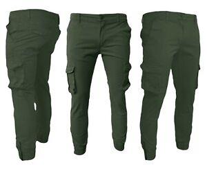 Pantaloni Uomo con Tasche Laterali Cargo jeans COTONE Tasconi Multitasche j661