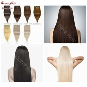 """US Full Head Volume Hair Weft 18"""" 20"""" Clip In 100% Remy Human Hair Extensions"""