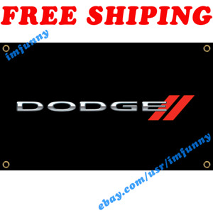 Dodge Logo Banner Flag 3x5 ft Racing Car Show Garage Wall Decor Sign Gift NEW