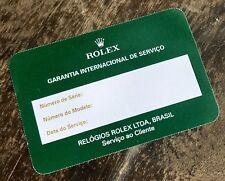 VINTAGE ROLEX Certificate Guarantee Service PAPER CARD BRAZIL DAYTONA 16520 OEM