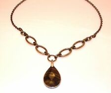 NECKLACE AVON FASHION BRASS TONED BROWN PENDANT
