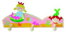 Meerjungfrau Nixen Garderobe aus Holz  3 Kleider Haken niedlich für Mädchen