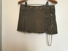 DONDUP MILITARY STUDDED WITH CHAIN MINISKIRT MINIGONNA BORCHIE ORO NEW WITH TAGS