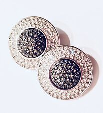 Fab! Signed Swarovski white & smoke Crystal paved Platinum Button Earrings -Clip
