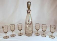 Vintage Decanter Set w/ 6 Glasses Peacock Feather Design Silver Trim Smoke Glass