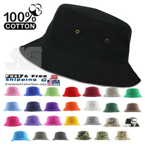 Classic Quality Bucket Hat 100% Cotton Size S/M ~ L/XL Summer Fisherman Hat Cap