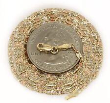 """14k Tri Color Gold Diamond Cut Star Valentino Chain Necklace 24"""" 2.1 MM Women"""