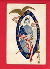 PATRIOTIC WOMAN FLAG UNIFORM SWORD EAGLE BUGLE  SMITH CONVOY OH 1908   POSTCARD