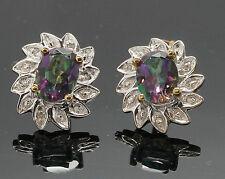 9carat Yellow Gold Mystic Topaz & Diamond Stud Earrings (10x12mm)