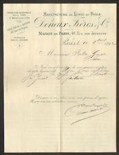 """PARIS (II°) USINE D'AMIENS de LINGES DE TABLES """"DENEUX Freres & Cie"""" 1892"""