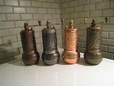 "(4 GRINDERS) 4"" Turkish Pepper Salt Spice Grinder Mill-Brass-Ni Shiny&Mat Colour"