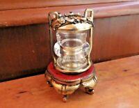 Vintage Vanity Brass Glass Holder -Ornate Victorian Jar -Puffs Swabs Hair sticks