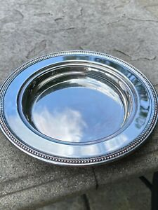 """Vintage William A Rogers By ONEIDA Silverplate Round Tray w/Beaded Rim, 7 3/8"""""""