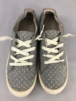 Madden Girl Sneakers Gray Polka Dot Womens Size 8.5 Slip On Open Laces Used