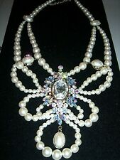 COUTURE HUGE PEARL BEAD RHINESTONE CLEOPATRA NECKLACE  ~~STATEMENT PIECE~~