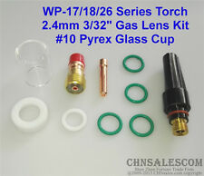 """10 pcs TIG Welding Stubby Gas Lens #10 Pyrex Cup Kit  for Tig WP-17/18/26 3/32"""""""