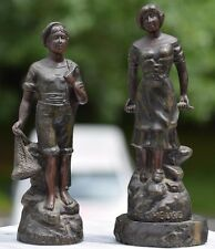 LOT 2 FRENCH ANTIQUE BRONZE WASHED SPELTER Figurines/Statues Pecheur Pecheuse
