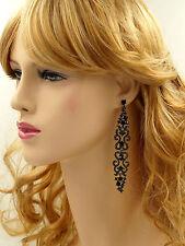 Alloy Black Crystal Rhinestone Chandelier Drop Long Dangle Earrings 06198
