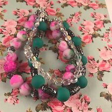Pink & turquoise Multi strand bracelet