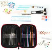 100pc Aluminum Crochet Hooks Yarn Knitting Needles Set Kit Multi color with Case