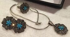 FINEST VINTAGE STERLING SILVER PENDANT-RING-EARRINGS with TURQUIOSE & MARCASITES