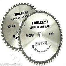 """12"""" - 300mm TCT Circular Saw Blades 2pc 40 & 60 teeth 30mm bore with 20 & 16mm"""