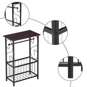 Sofa Side Table Bedroom Bathroom Storage Table stand Plant Storage Shelf Black