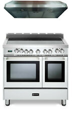 "Verona Vefsee365Dw 36"" All Electric Double Oven Range 2pc Package W/Hood White"