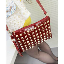 Hot Sale Red Punk Cool Rivet Clutch Shoulder Handbag Envelope Bag Women Ladies