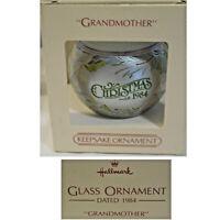 Hallmark Keepsake Glass Ornament in Box 1984 Grandmother Christmas Made in USA