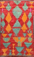 Antique Geometric Modern Moroccan Oriental Area Rug Hand-knotted Plush Wool 5x7