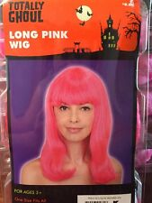 NIP Women's Long Pink Wig Totally Ghoul Cosplay Halloween Role Playing