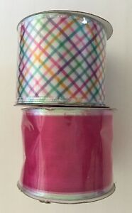 Lot of 2: Easter Pastel Plaid Wired Ribbon & Dark Pink Organza Spool Combo