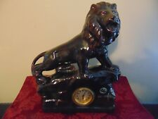 VINTAGE RARE CERAMIC GERMAN CLOCK WITH A LION. MADE IN  GERMANY Table Mantel
