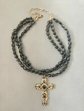 MICHAL GOLAN New York Designer hand made brand new Black Onyx Cross Necklace