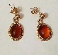 14K (585) Solid Yellow Gold Amber Earrings NOS NEW VINTAGE SALE