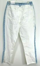 PacSun Womens Mom High Rise Blue White Colorblock Denim Fashion Jeans Sz 29 x 26