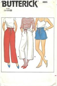 BUTTERICK WOMEN'S PATTERN 4865 SLACKS, SHORTS, CLAMDIGGERS, SZ. 14-16-18