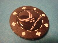 U.S. AIR FORCE Poker Chip,Golf Ball Marker,Card Guard ACE-SPADE-CLUB-HEART Black