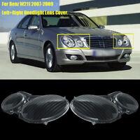 Pair Headlight Clear Lens Cover For MERCEDES BENZ E CLASS W211 E350 E300 02-08