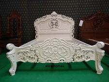 "4'6"" Double IVORY oriental carved mahogany Baroque French Rococo bed"
