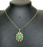 14k solid yellow gold & green Turquoise pendant 4.82g