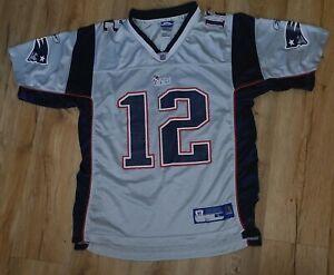 New England Patriots Tom Brady SILVER Reebok  Jersey KIDS size-Large 14/16