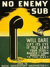 USA NAVY PERISCOPE SUBMARINE WAR BINOCULARS VINTAGE ADVERTISING POSTER 2056PYLV