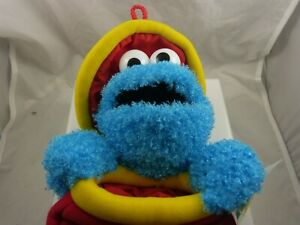 Cookie Monster popping out of  Christmas stocking Sesame street xmas bag